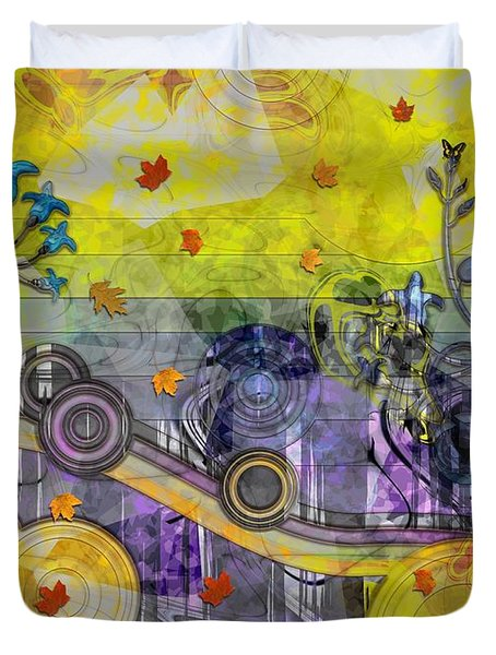 Abstract - Falling Leaves Duvet Cover by Liane Wright