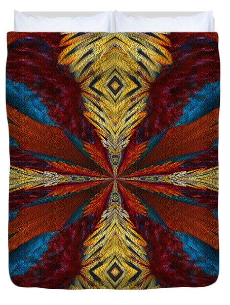 Abstract Feathers Duvet Cover by Smilin Eyes  Treasures