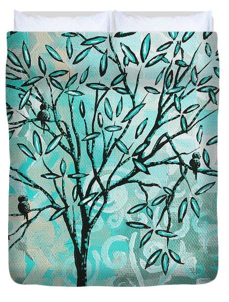 Abstract Floral Birds Landscape Painting Bird Haven II By Megan Duncanson Duvet Cover by Megan Duncanson