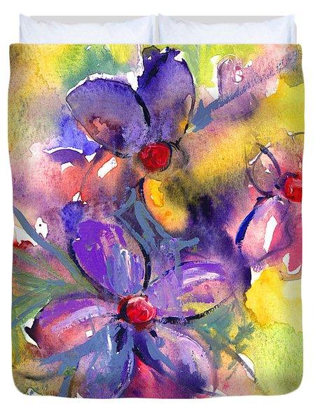 abstract Flower botanical watercolor painting print Duvet Cover by Svetlana Novikova