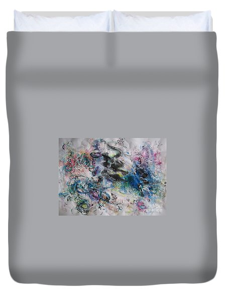 Abstract Flower Field Painting Blue Pink Green Purple Black Landscape Painting Modern Acrylic Pastel Duvet Cover by Seon-Jeong Kim