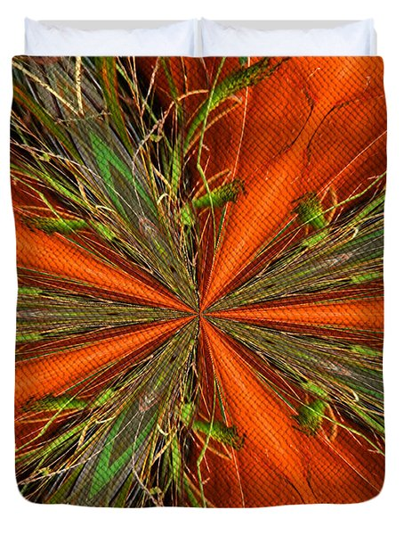 Abstract Green And Orange Shapes Duvet Cover
