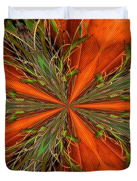 Abstract Green And Orange Shapes Duvet Cover by Smilin Eyes  Treasures