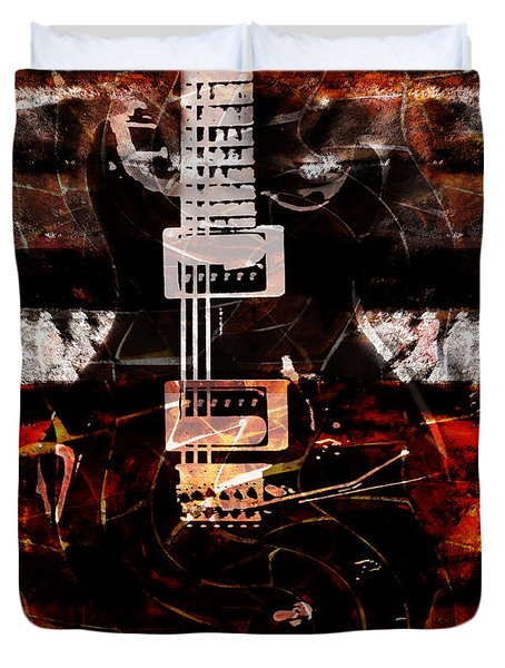 Abstract Guitar Into Metal Duvet Cover by Nola Lee Kelsey