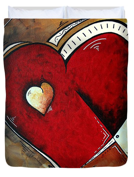 Abstract Heart Original Painting Valentines Day Heart Beat By Madart Duvet Cover by Megan Duncanson