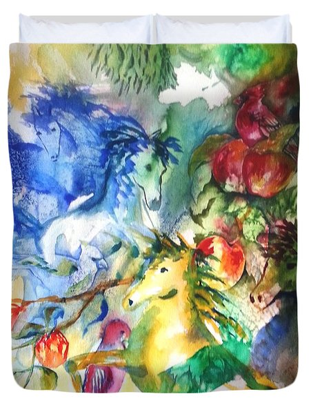 Abstract Horses Duvet Cover