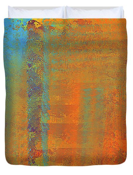 Abstract In Aqua Copper And Gold Duvet Cover