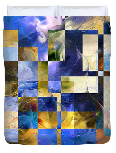 Duvet Cover featuring the painting Abstract In Blue And White by Curtiss Shaffer