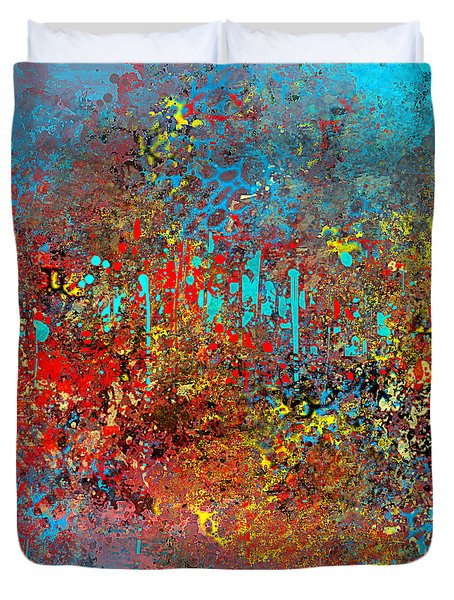 Abstract In Red Aqua And Yellow Duvet Cover