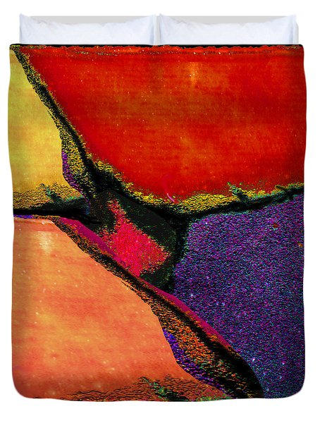 Abstract In Reds Duvet Cover
