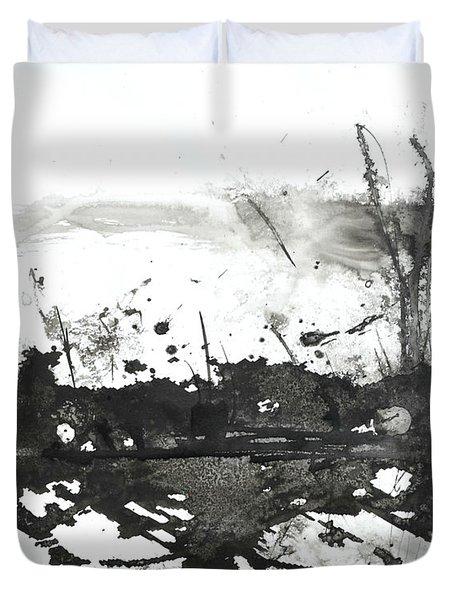 Modern Abstract Black Ink Art Duvet Cover