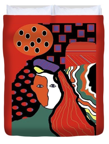 Abstract Lady Duvet Cover by Vickie G Buccini