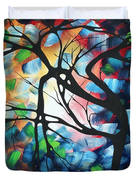 Abstract Landscape Art Original Colorful Painting Tree Maze By Madart Duvet Cover by Megan Duncanson