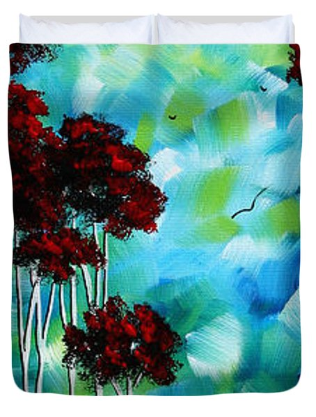 Abstract Landscape Art Original Tree And Moon Painting Blue Moon By Madart Duvet Cover by Megan Duncanson