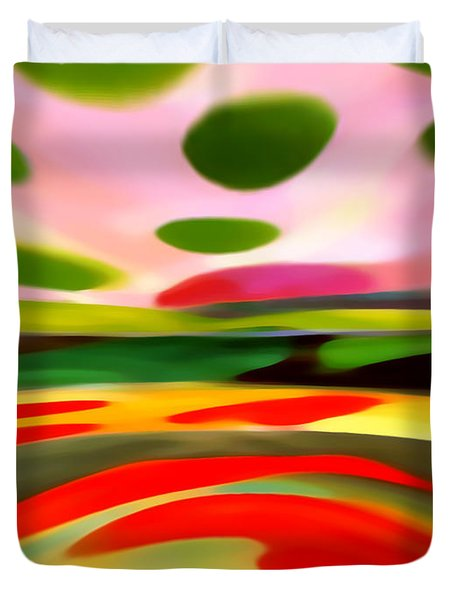 Abstract Landscape Of Happiness Duvet Cover by Amy Vangsgard