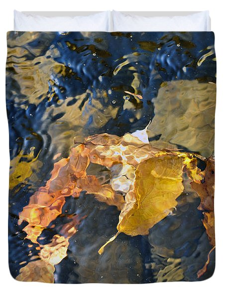 Abstract Leaves In Water Duvet Cover by Dan Friend