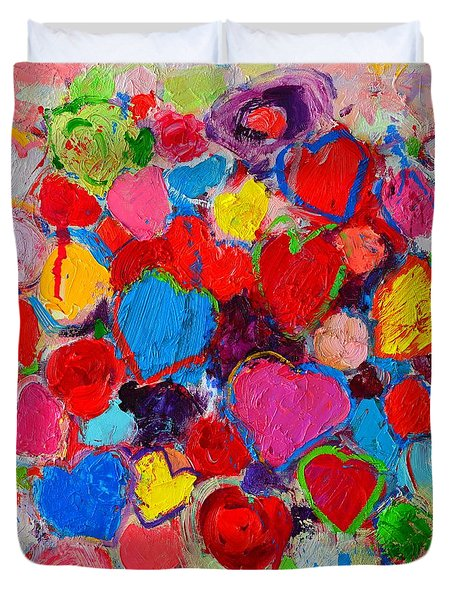 Abstract Love Bouquet Of Colorful Hearts And Flowers Duvet Cover