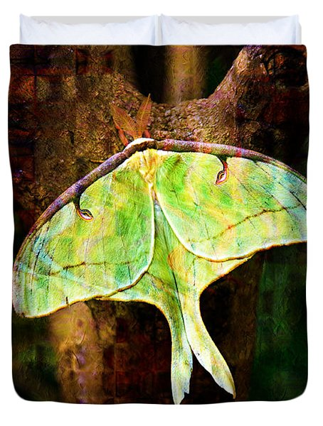 Abstract Luna Moth Painterly Duvet Cover by Andee Design