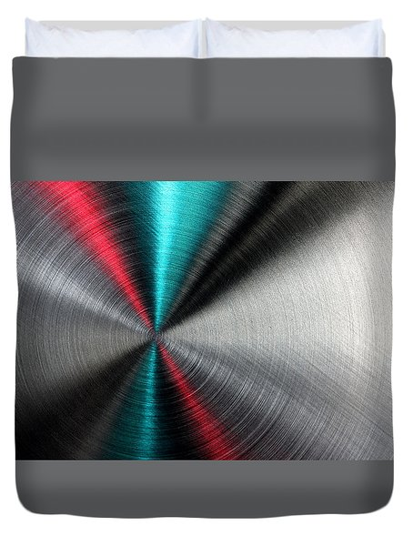 Abstract Metallic Texture With Blue And Red Ray Pattern. Duvet Cover