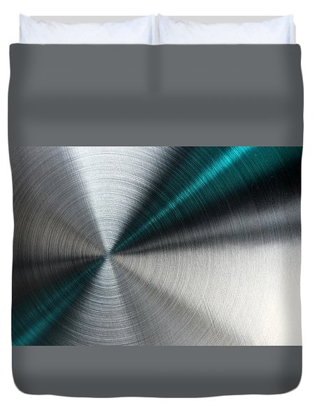 Abstract Metallic Texture With Blue Rays. Duvet Cover