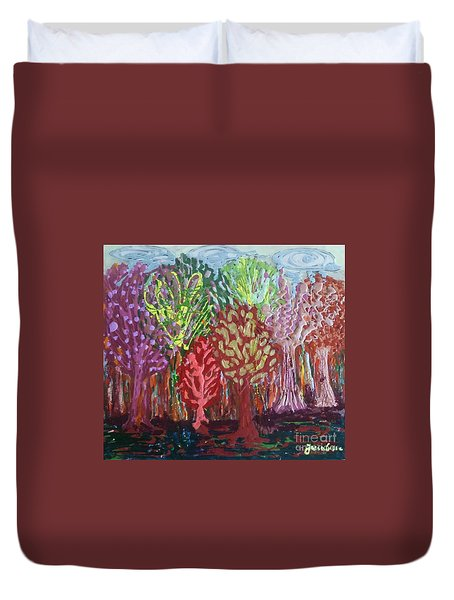 Duvet Cover featuring the painting Abstract Nail Polish Jg2 by Jasna Gopic