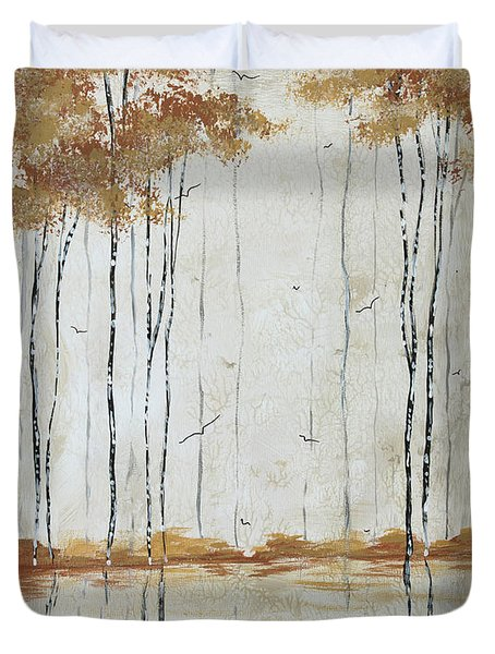 Abstract Neutral Landscape Pond Reflection Painting Mystified Dreams II By Megan Ducanson Duvet Cover by Megan Duncanson