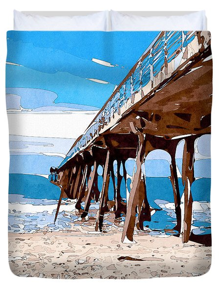 Abstract Ocean Pier Duvet Cover by Phil Perkins