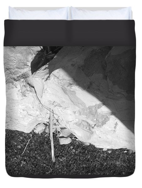 Duvet Cover featuring the photograph Abstract Of Rock And Shadow by Esther Newman-Cohen