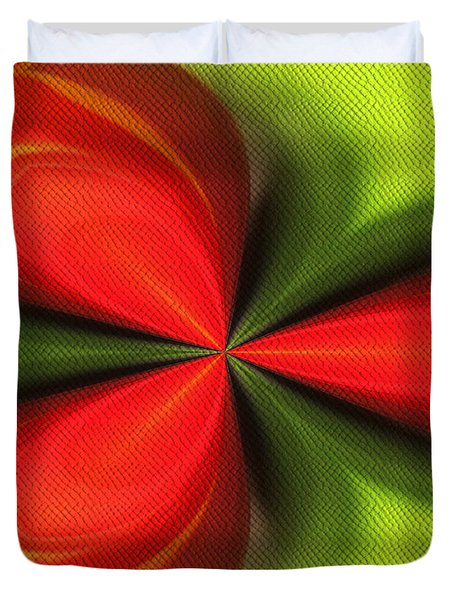 Abstract Orange And Green Duvet Cover by Smilin Eyes  Treasures
