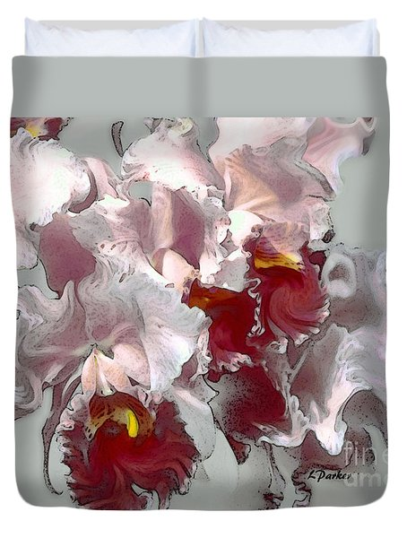 Abstract Orchid Duvet Cover by Linda  Parker