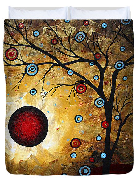 Abstract Original Gold Textured Painting Frosted Gold By Madart Duvet Cover by Megan Duncanson