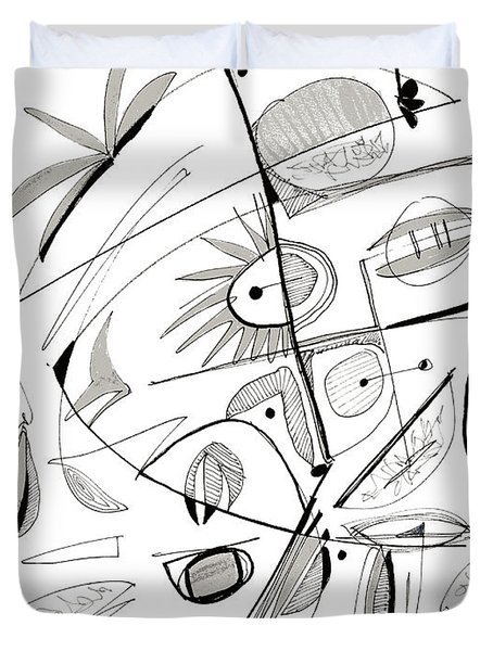 Abstract Pen Drawing Sixty-seven Duvet Cover