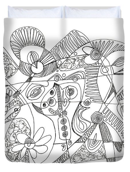 Abstract Pen Drawing Thirty-eight Duvet Cover