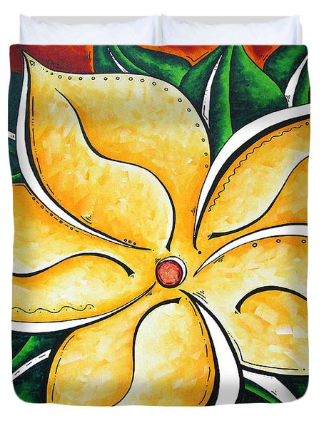 Abstract Pop Art Yellow Plumeria Flower Tropical Passion By Madart Duvet Cover by Megan Duncanson