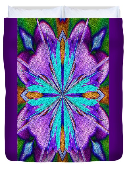 Abstract Purple Aqua And Green Duvet Cover by Smilin Eyes  Treasures