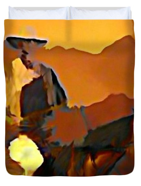 Abstract Range Riding Duvet Cover by John Malone