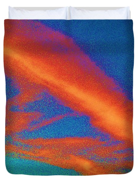 Abstract Red Blue And Green Sky Duvet Cover by Eric  Schiabor