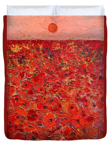 Abstract Red Poppies Field At Sunset Duvet Cover by Ana Maria Edulescu
