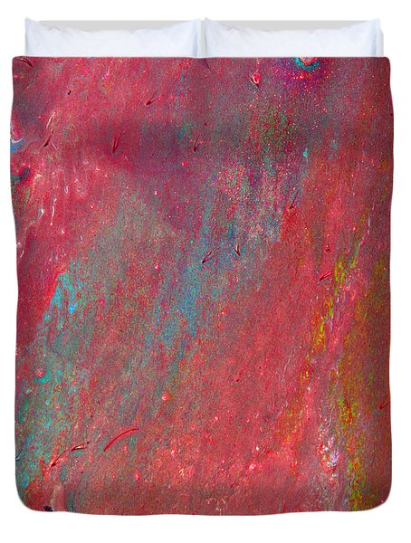 Abstract Red Rain Duvet Cover
