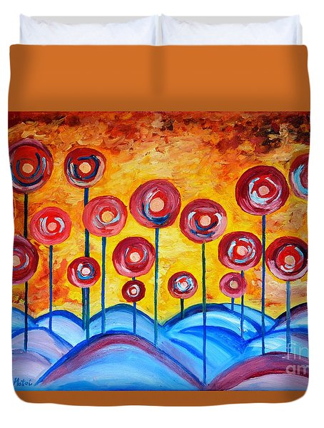 Abstract Red Symphony Duvet Cover