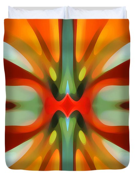 Abstract Red Tree Symmetry Duvet Cover by Amy Vangsgard