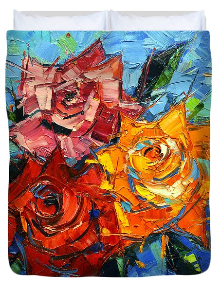 Abstract Roses On Blue Duvet Cover