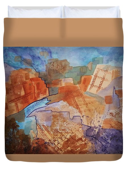 Duvet Cover featuring the painting Abstract Ruins by Ellen Levinson