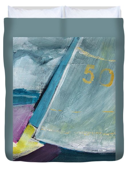abstract sail with Number Fifty Duvet Cover by Betty Pieper