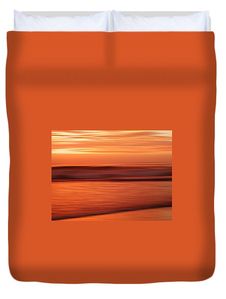 Abstract Seascape At Sunset Duvet Cover