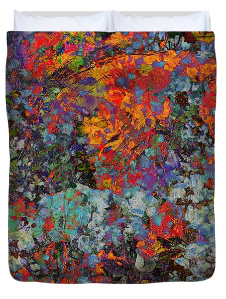 Duvet Cover featuring the mixed media Abstract Spring by Ally  White