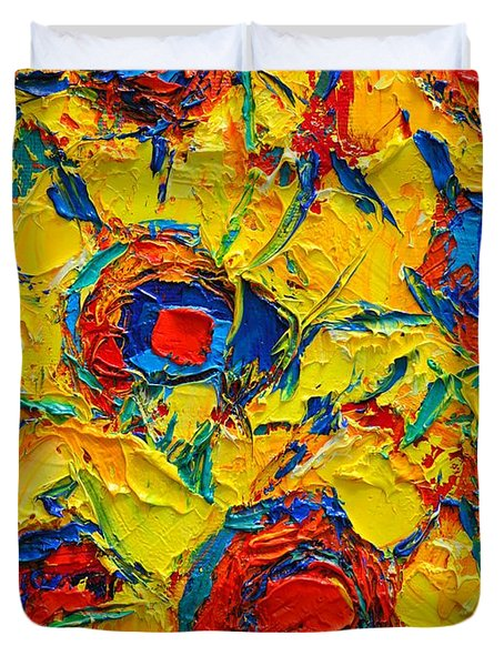 Abstract Sunflowers Duvet Cover by Ana Maria Edulescu