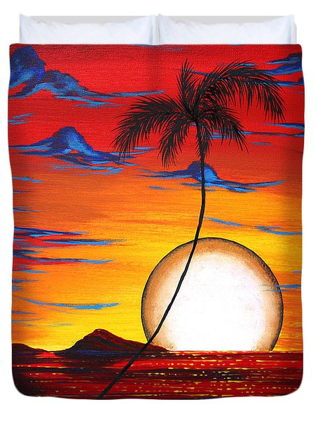 Abstract Surreal Tropical Coastal Art Original Painting Tropical Resonance By Madart Duvet Cover by Megan Duncanson