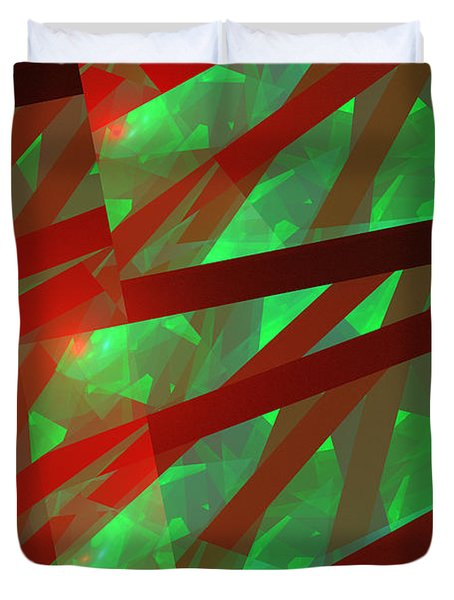 Abstract Tiled Green And Red Fractal Flame Duvet Cover by Keith Webber Jr