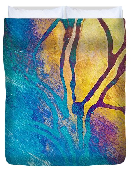 Duvet Cover featuring the mixed media Fire And Ice Abstract Tree Art  by Priya Ghose